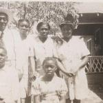Favors Family, Amsee, Arzilla, Jimmie, Addie, Pompie and Glenestine in front of their home in Bethlehem, TX - Yr. unknown.