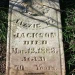 This headstone has been taken out of the cemetery and left alongside the road.  I do find Lizzie in the census but I do not know who were her parents.  She married Holley Jackson and the family can be found in the 1870 census.